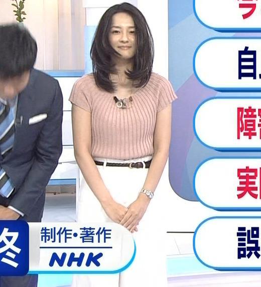 鈴木奈穂子アナ お辞儀でちょっと胸チラキャプ・エロ画像3
