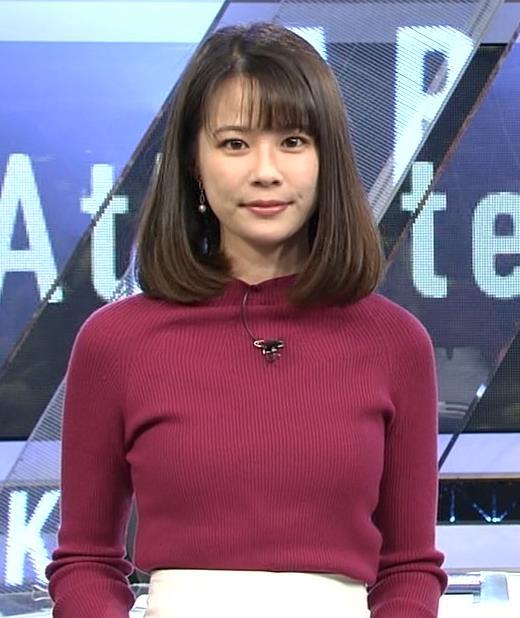 鈴木唯アナ 微乳のふくらみが逆にエロいニットキャプ・エロ画像4