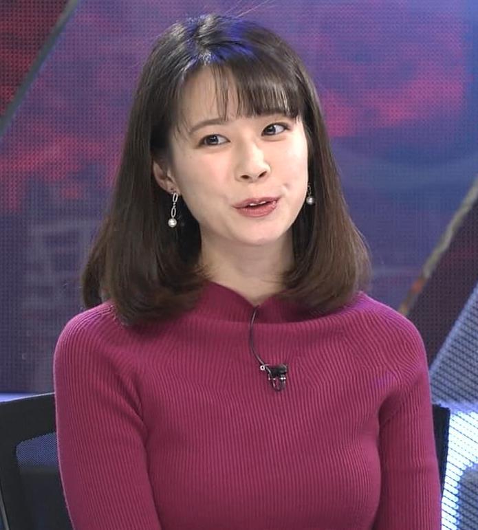 鈴木唯アナ 微乳のふくらみが逆にエロいニットキャプ・エロ画像5