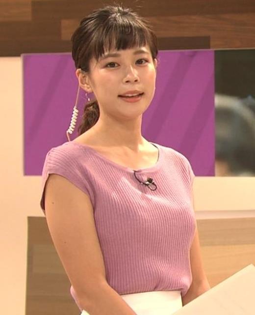 鈴木唯 地味めな女子アナのニット乳キャプ画像(エロ・アイコラ画像)