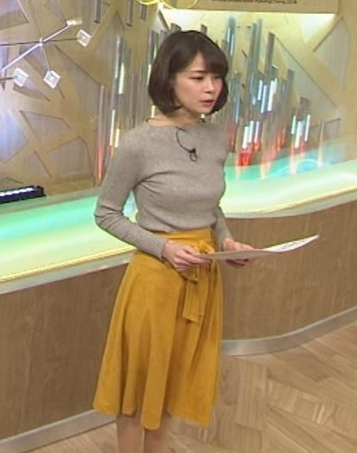 鈴木唯アナ 細身なのにデカいニット乳♡キャプ・エロ画像