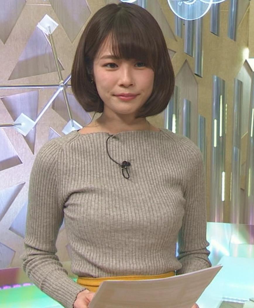 鈴木唯アナ 細身なのにデカいニット乳♡キャプ・エロ画像3