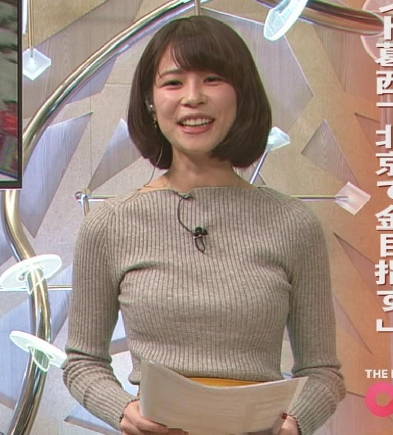 鈴木唯アナ 細身なのにデカいニット乳♡キャプ・エロ画像4