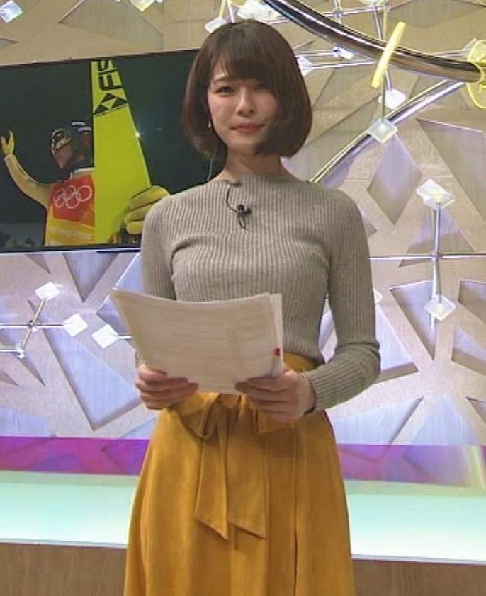 鈴木唯アナ 細身なのにデカいニット乳♡キャプ・エロ画像5