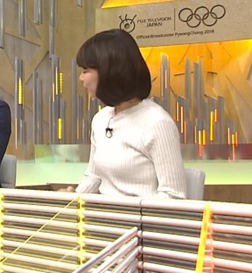 鈴木唯アナ ニット乳がいい感じキャプ画像(エロ・アイコラ画像)