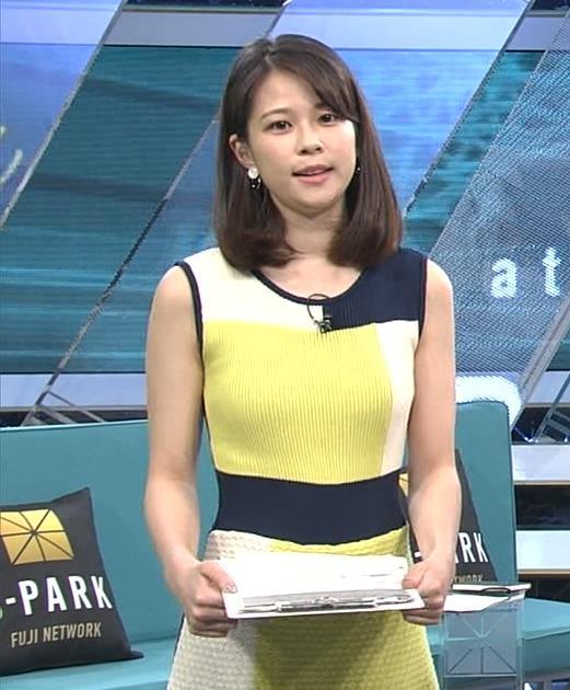 鈴木唯アナ 巨乳が目立つピチピチの衣装