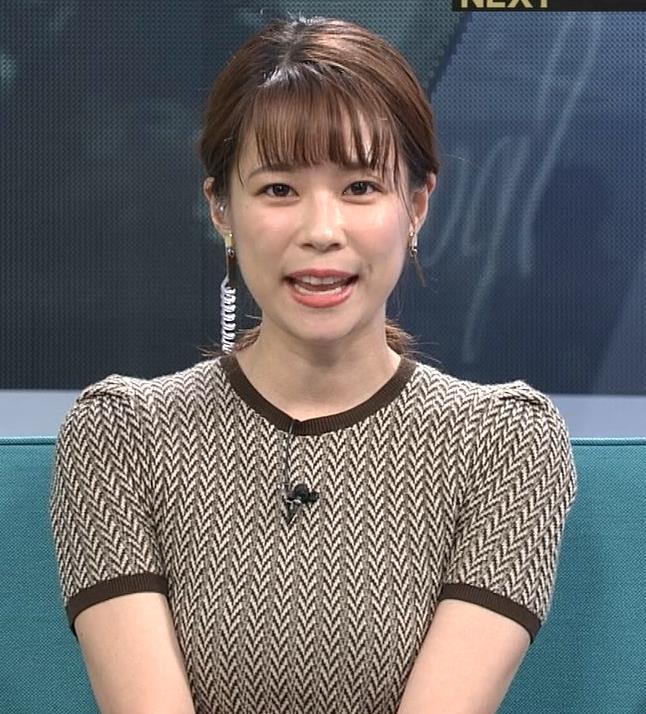 鈴木唯アナ 巨乳が際立つ柄のワンピースキャプ・エロ画像4