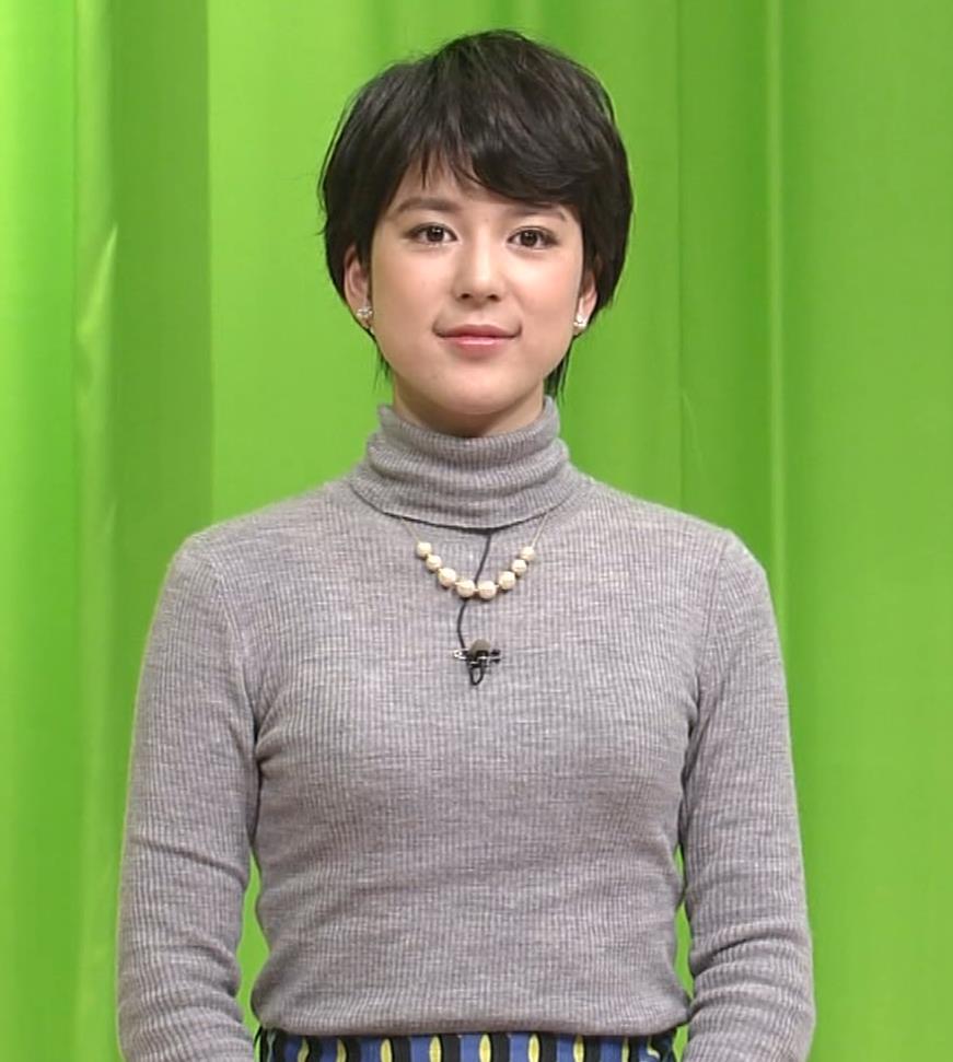 武田伊央アナ ショートカットが可愛い地方女子アナのニットおっぱいキャプ・エロ画像