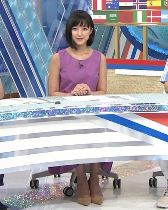竹内由恵アナ 紫のノースリーブ (やべっちF.C)キャプ・エロ画像