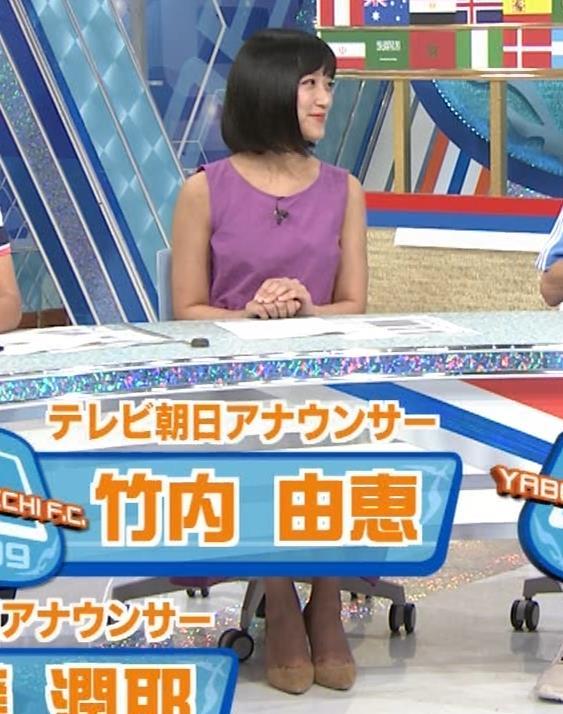 竹内由恵アナ 紫のノースリーブ (やべっちF.C)キャプ・エロ画像2