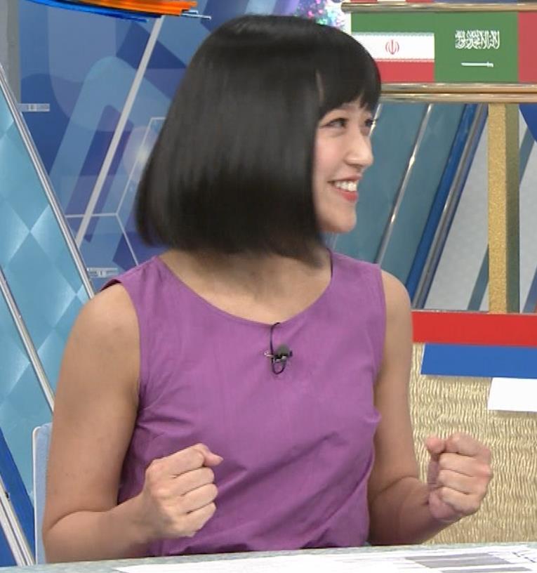 竹内由恵アナ 紫のノースリーブ (やべっちF.C)キャプ・エロ画像8