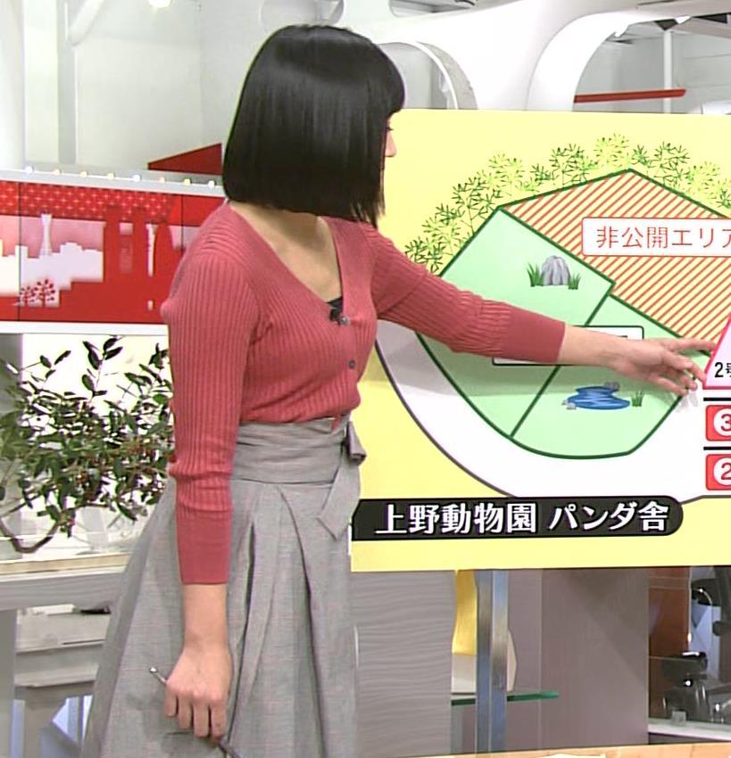 竹内由恵アナ デコルテ露出のエロいニットおっぱいキャプ・エロ画像4
