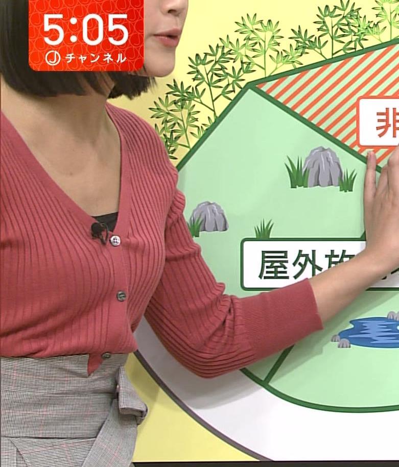 竹内由恵アナ デコルテ露出のエロいニットおっぱいキャプ・エロ画像5