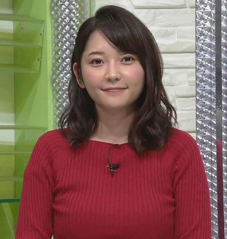 竹﨑由佳アナ クッキリなニットおっぱい♡キャプ・エロ画像