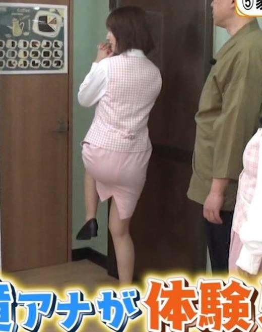 滝菜月アナ スカートパツパツのプリケツキャプ画像(エロ・アイコラ画像)