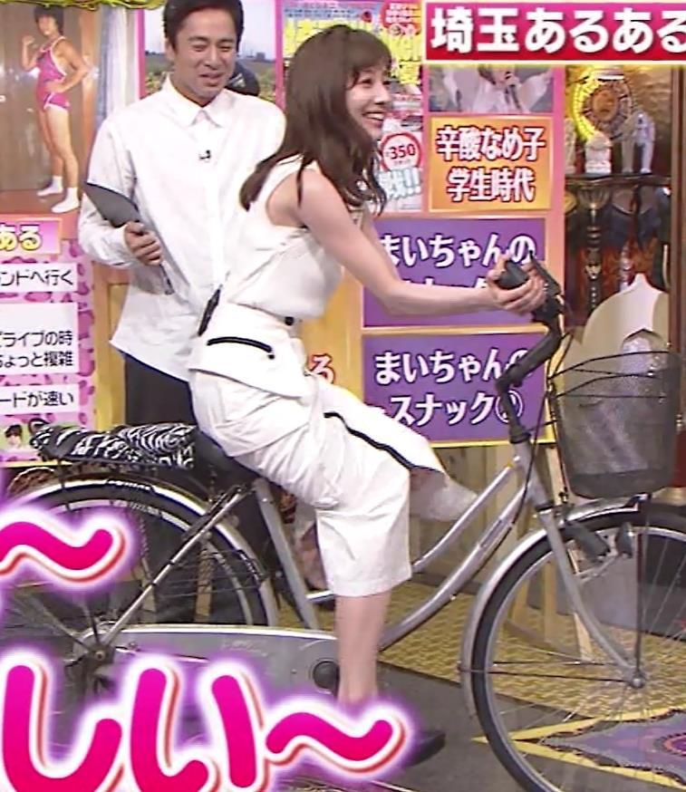 田中みな実 スカートで自転車に乗り、スリットがエロ過ぎキャプ・エロ画像5