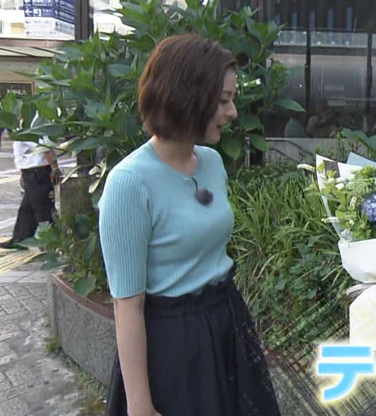 徳島えりかアナ ニット横乳で大きさがクッキリキャプ・エロ画像9