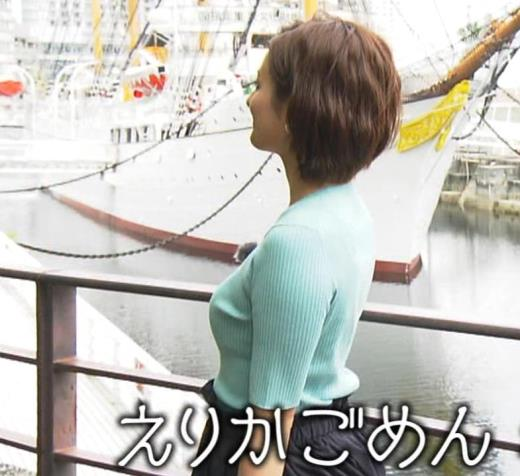 徳島えりかアナ ニット横乳で大きさがクッキリキャプ画像(エロ・アイコラ画像)