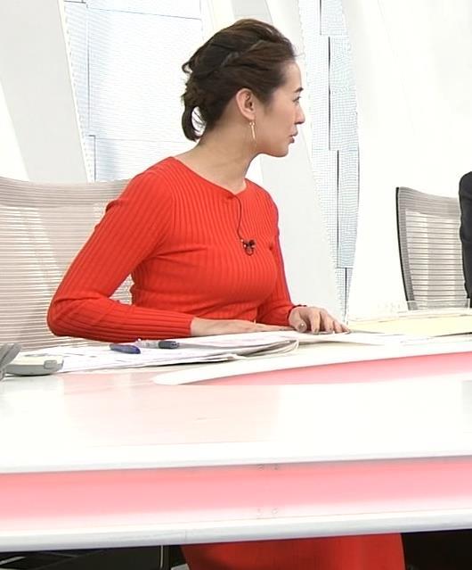 椿原慶子アナ カラダにぴったりしたニットでおっぱいクッキリ!キャプ・エロ画像