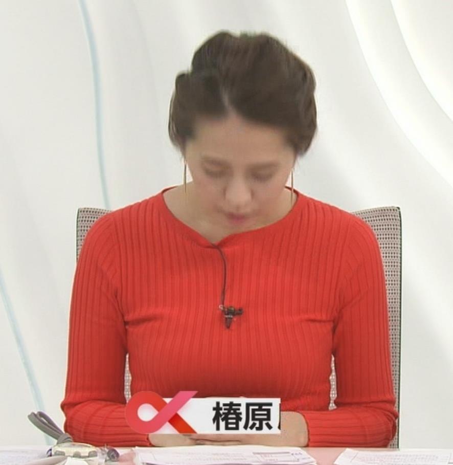 椿原慶子アナ カラダにぴったりしたニットでおっぱいクッキリ!キャプ・エロ画像2