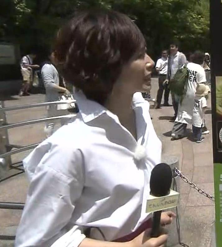 つのせかえアナ 街頭インタビューで胸ちらキャプ・エロ画像2