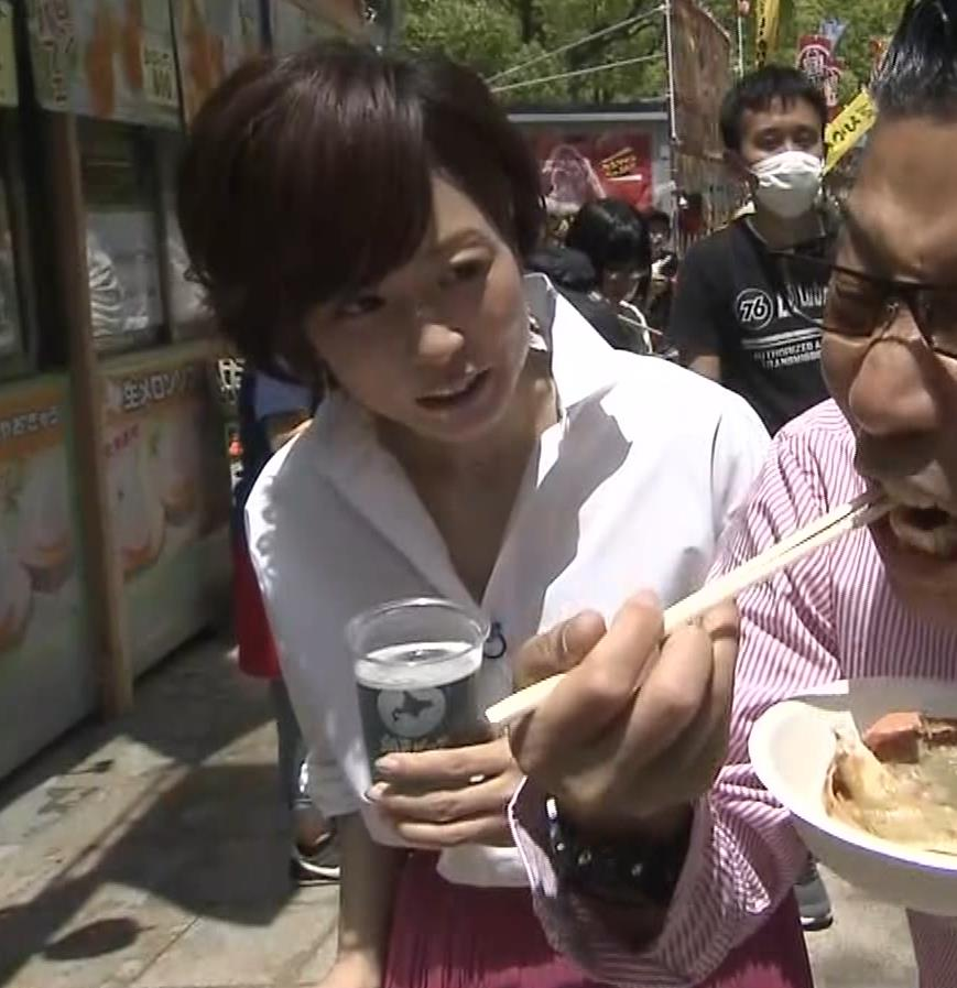 つのせかえアナ 街頭インタビューで胸ちらキャプ・エロ画像4