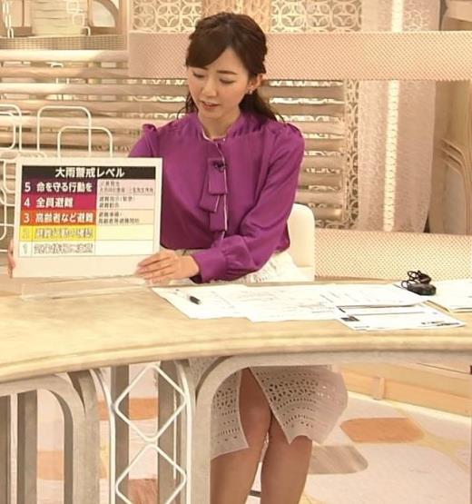内田嶺衣奈アナ 机の下のスカートのスリットキャプ画像(エロ・アイコラ画像)