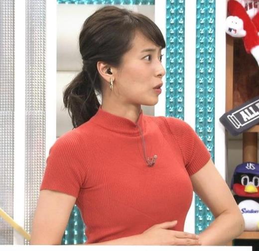 上田まりえアナ ピチピチのニットでおっぱいが際立つキャプ画像(エロ・アイコラ画像)