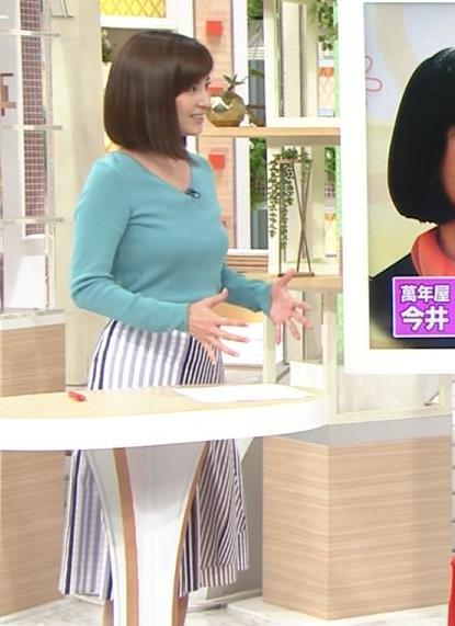 宇賀なつみアナ エロいニット乳とお尻のアップキャプ・エロ画像3