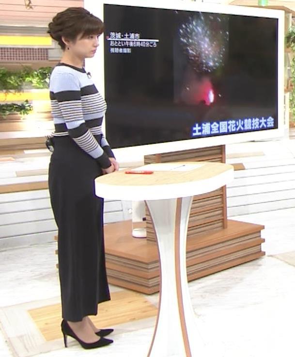 宇賀なつみアナ ボーダー柄ニットで巨乳が際立つ!キャプ・エロ画像5