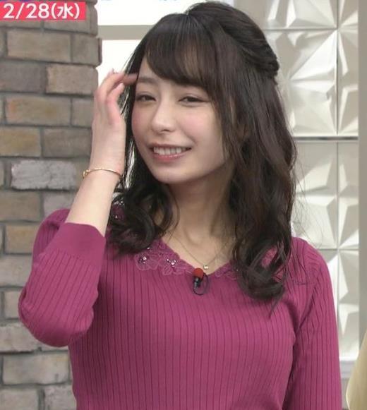 宇垣美里 紫のニット姿キャプ画像(エロ・アイコラ画像)