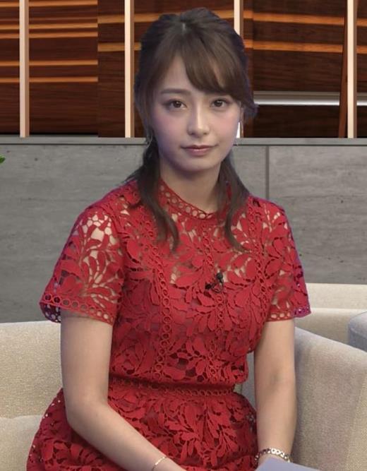 宇垣美里 胸元の透け透けがエロいレースのワンピキャプ画像(エロ・アイコラ画像)
