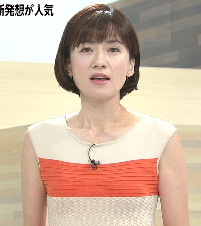 梅津弥英子アナ タイトなワンピースの横乳キャプ・エロ画像6