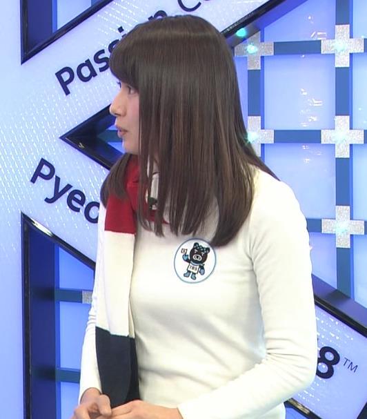 宇内梨沙アナ ニットおっぱい♡マフラーが邪魔キャプ・エロ画像4
