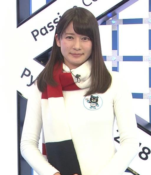宇内梨沙アナ ニットおっぱい♡マフラーが邪魔キャプ・エロ画像5