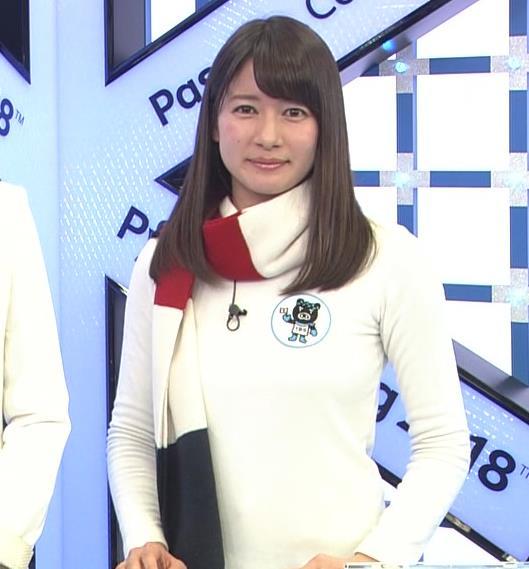宇内梨沙アナ ニットおっぱい♡マフラーが邪魔キャプ・エロ画像6