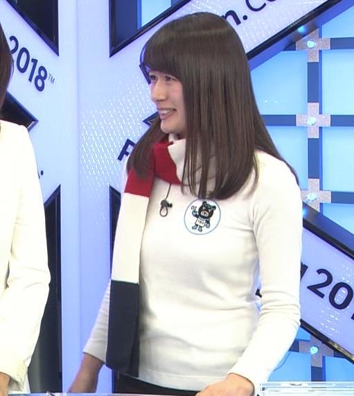 宇内梨沙アナ ニットおっぱい♡マフラーが邪魔キャプ・エロ画像7