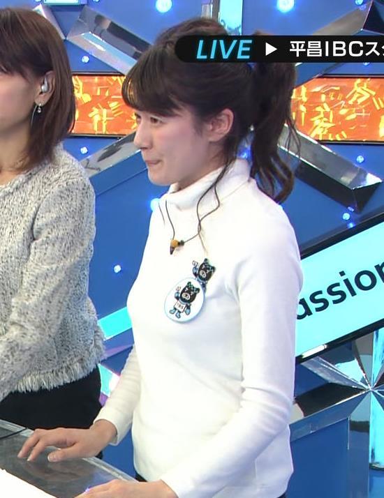 宇内梨沙アナ ぴったり衣装でおっぱいクッキリキャプ・エロ画像2