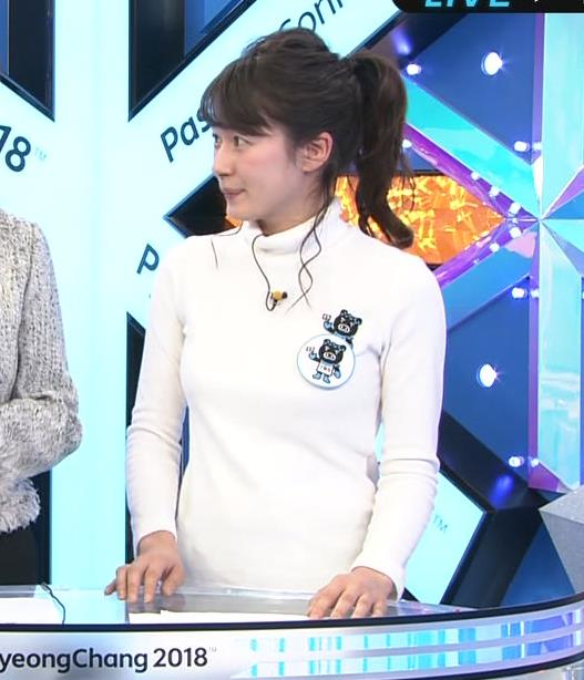 宇内梨沙アナ ぴったり衣装でおっぱいクッキリキャプ・エロ画像3