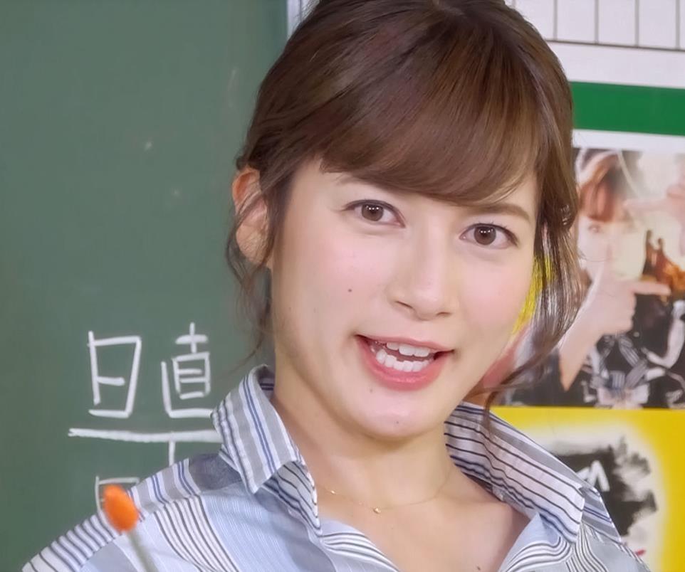 宇内梨沙アナ 胸元が開き気味のワイシャツキャプ・エロ画像3