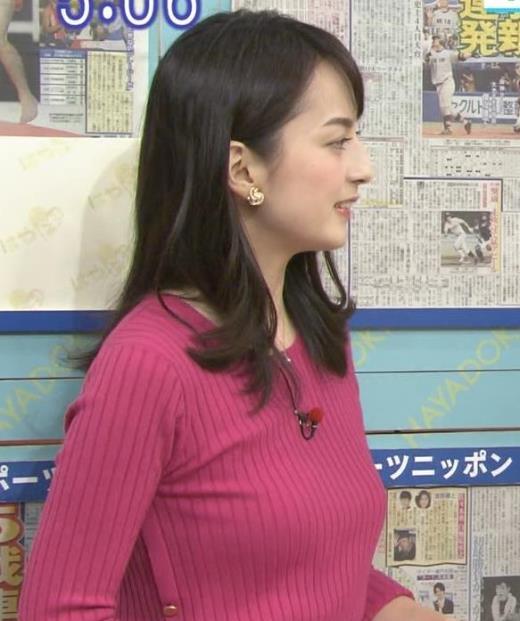 山本恵里伽 くっきりニット乳キャプ画像(エロ・アイコラ画像)