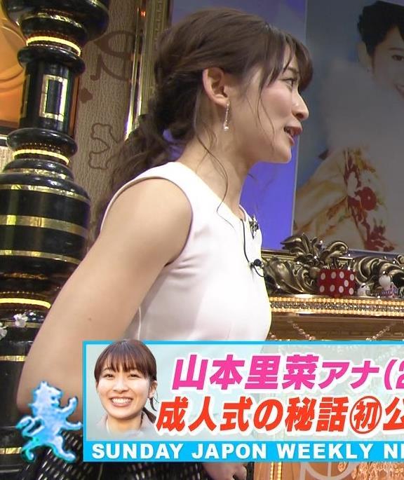 山本里菜アナ ノースリーブ横乳(新サンジャポアシスタント)キャプ・エロ画像