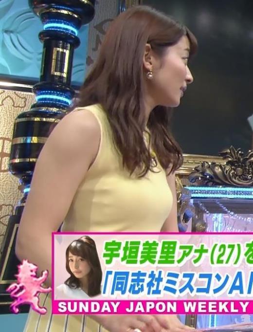山本里菜アナ 巨乳が際立つピチピチノースリーブキャプ画像(エロ・アイコラ画像)
