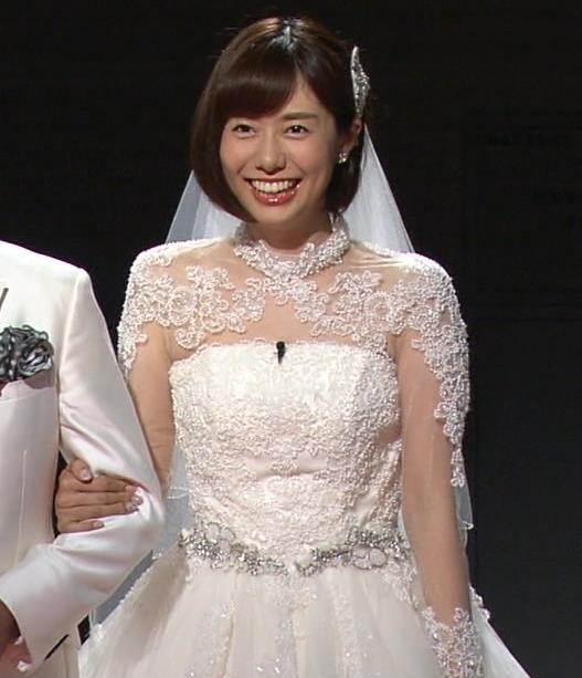 山崎夕貴アナ ウエディングドレス姿キャプ・エロ画像
