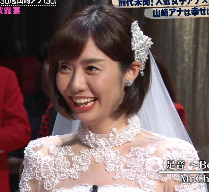 山崎夕貴アナ ウエディングドレス姿キャプ・エロ画像2