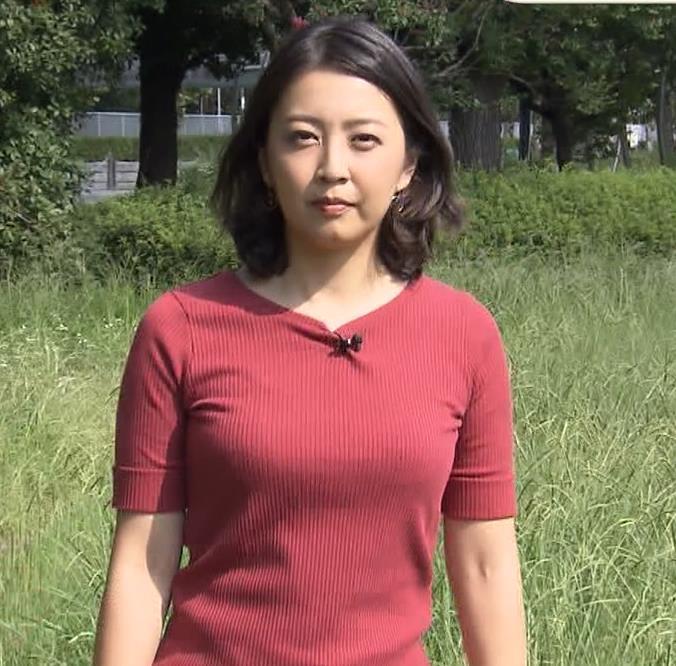 矢島悠子アナ クッキリ!ニット巨乳横乳キャプ・エロ画像
