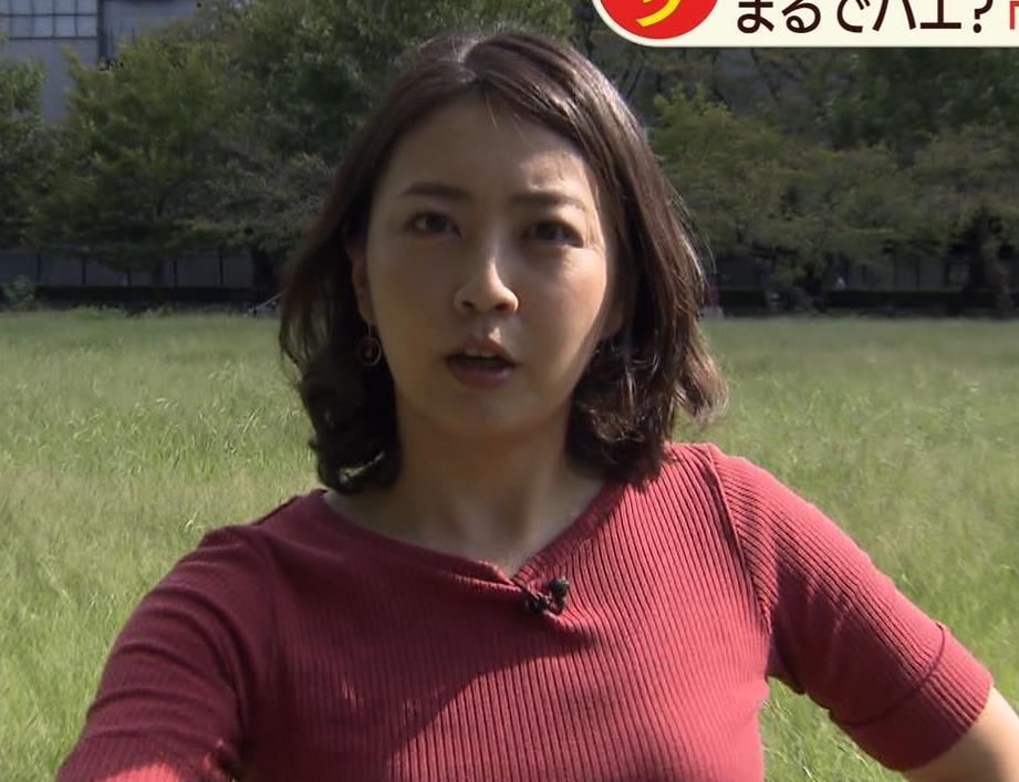 矢島悠子アナ クッキリ!ニット巨乳横乳キャプ・エロ画像4