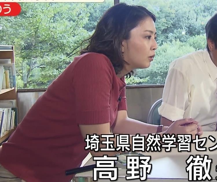 矢島悠子アナ クッキリ!ニット巨乳横乳キャプ・エロ画像5