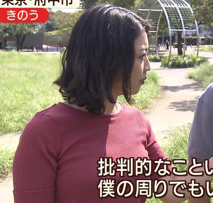 矢島悠子アナ クッキリ!ニット巨乳横乳キャプ・エロ画像6