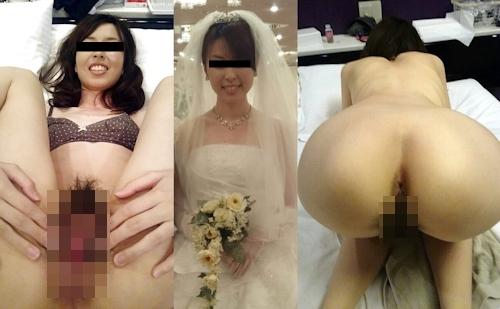 新婚妻のウエディングドレス写真と流出ヌード画像特集 1